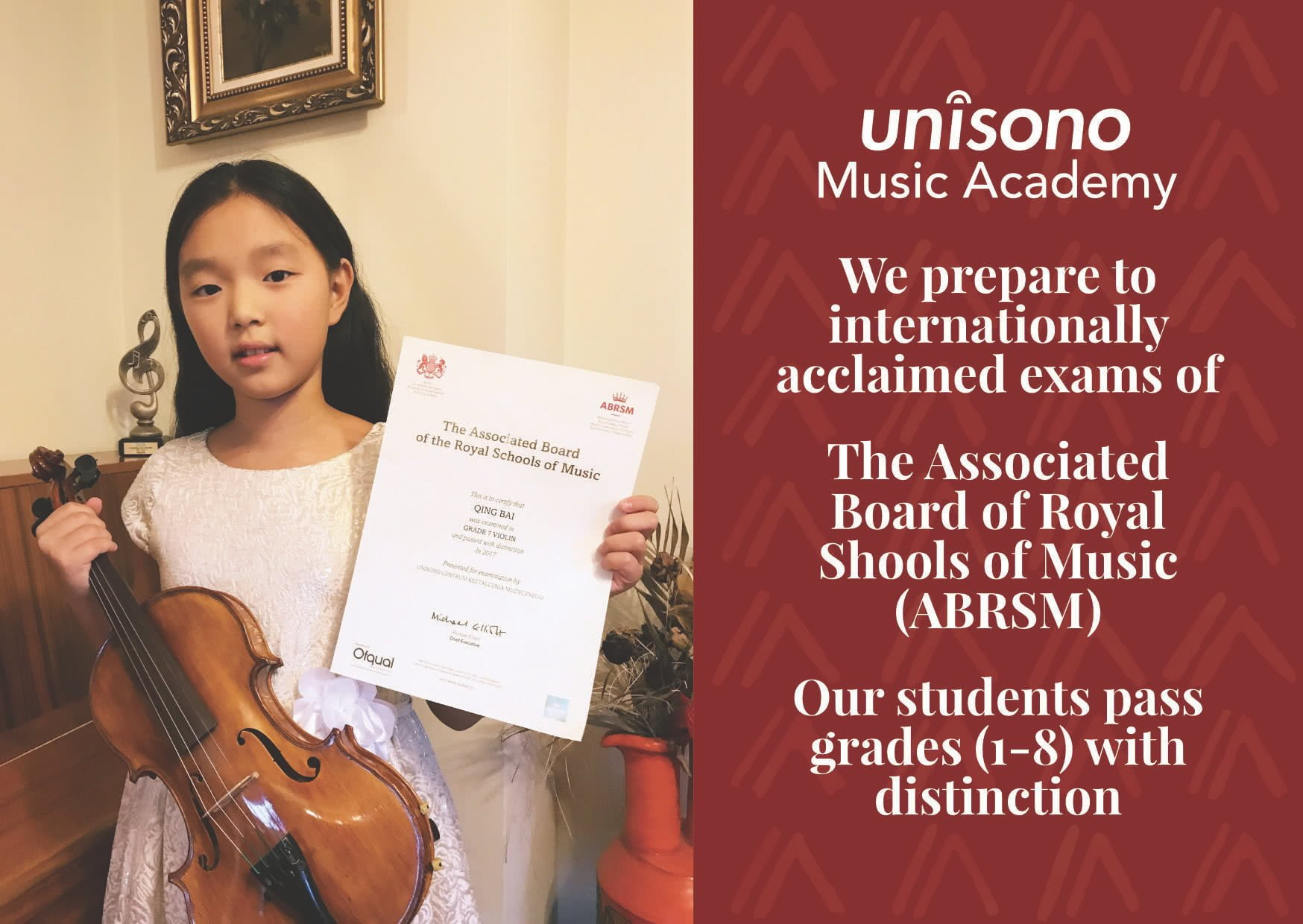 Our students pass ABRSM exams with distinction