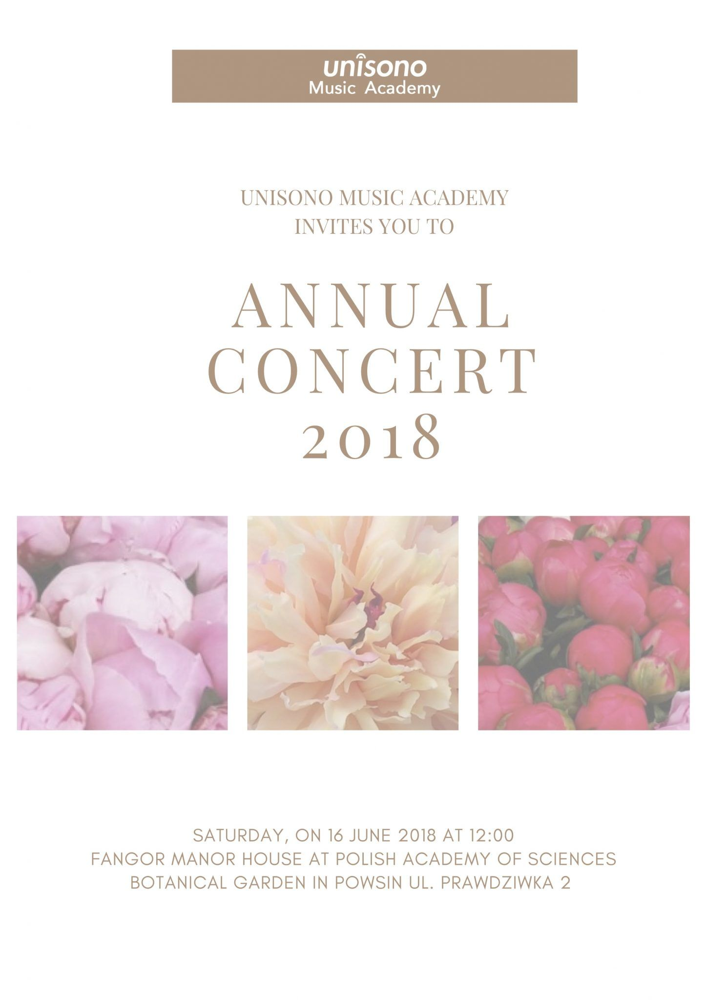 Invitation to Annual Concert 2018 Invitation