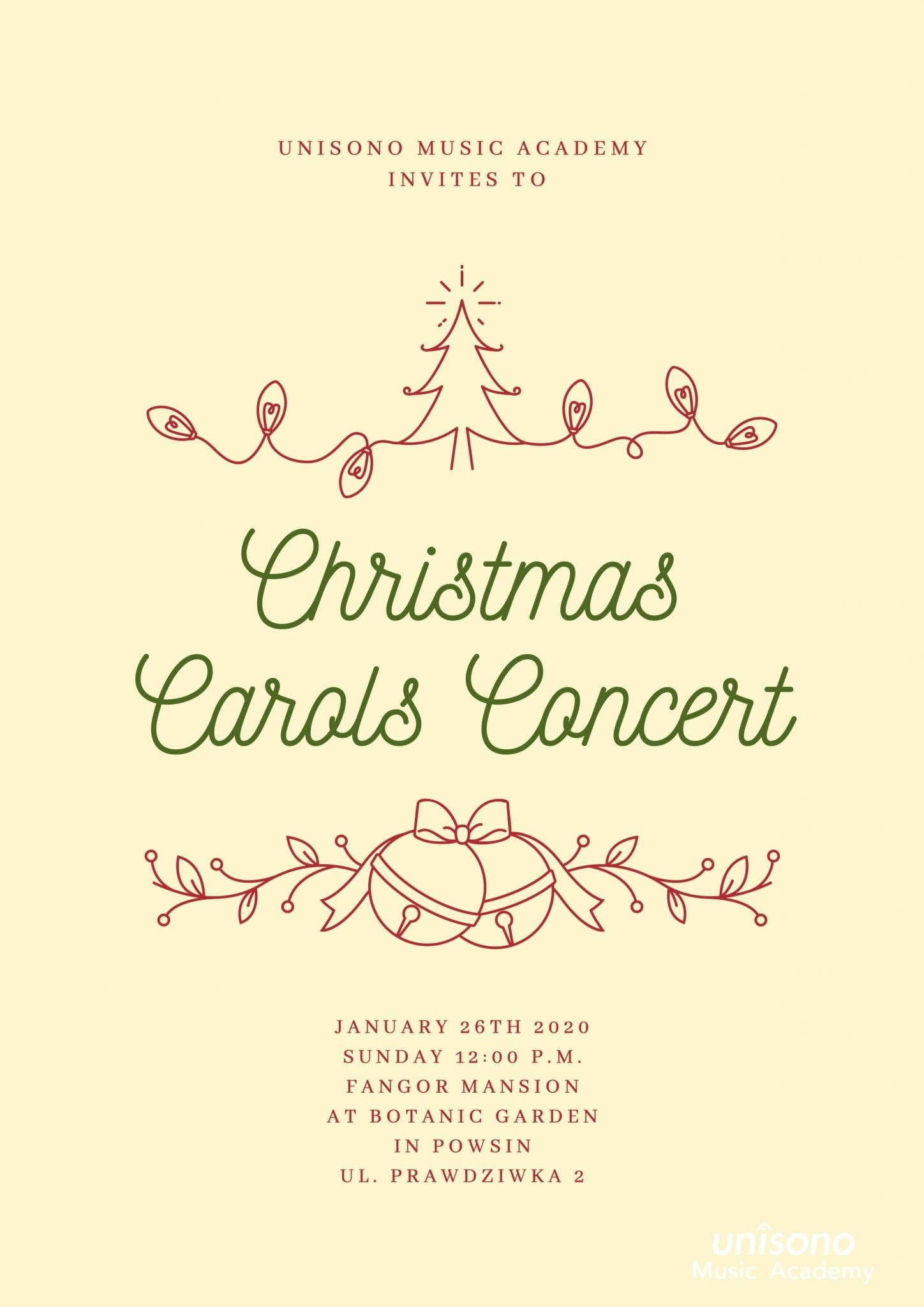 Christmas Carols Concert 2020 Invitation